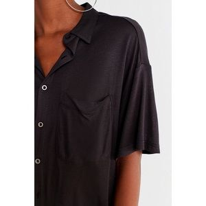 UO oversized button down black shirt size S